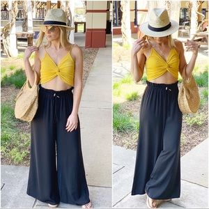 Black wide leg high waist drawstring pants
